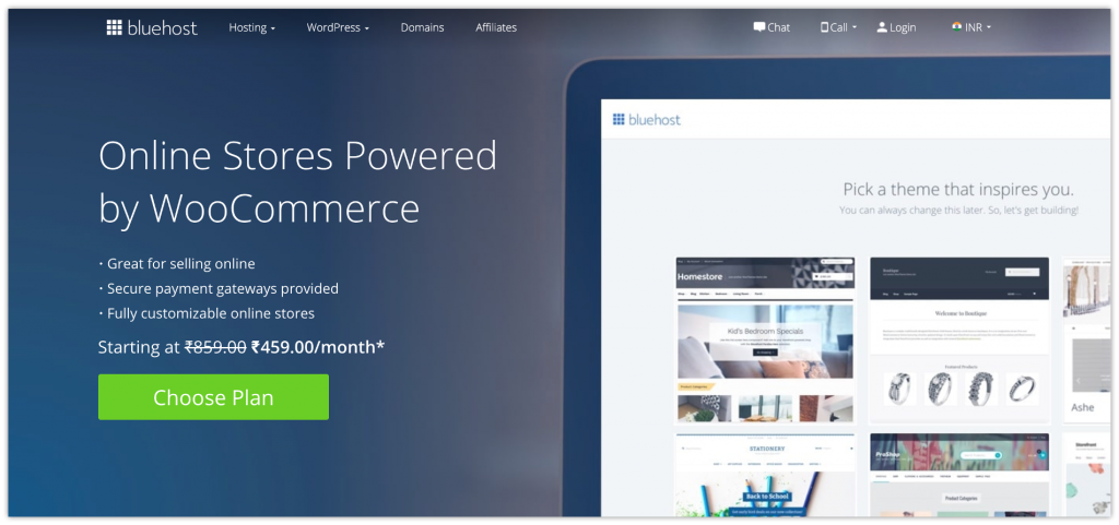 Bluehost to build an eCommerce website