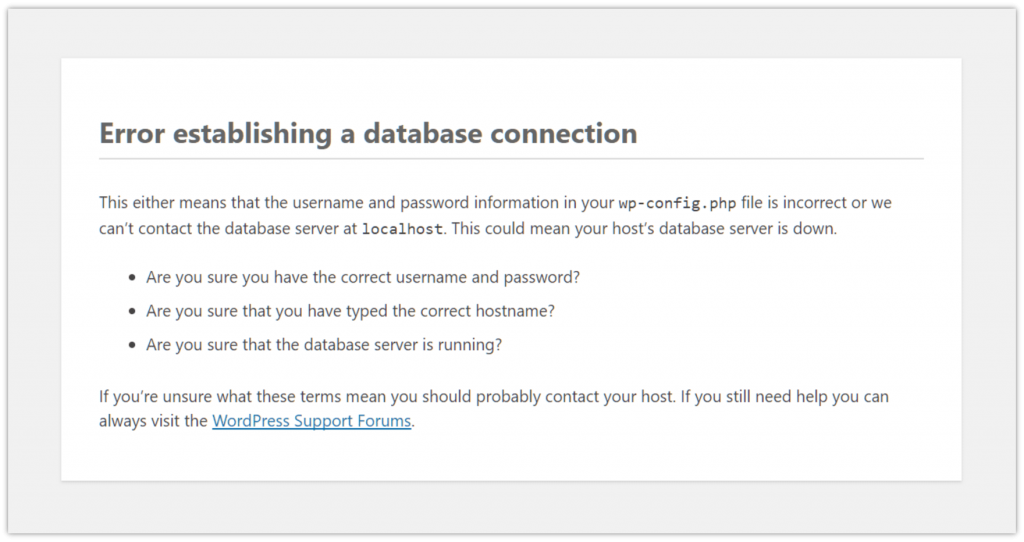Error Establishing a Database Connection – How to Fix it? 1