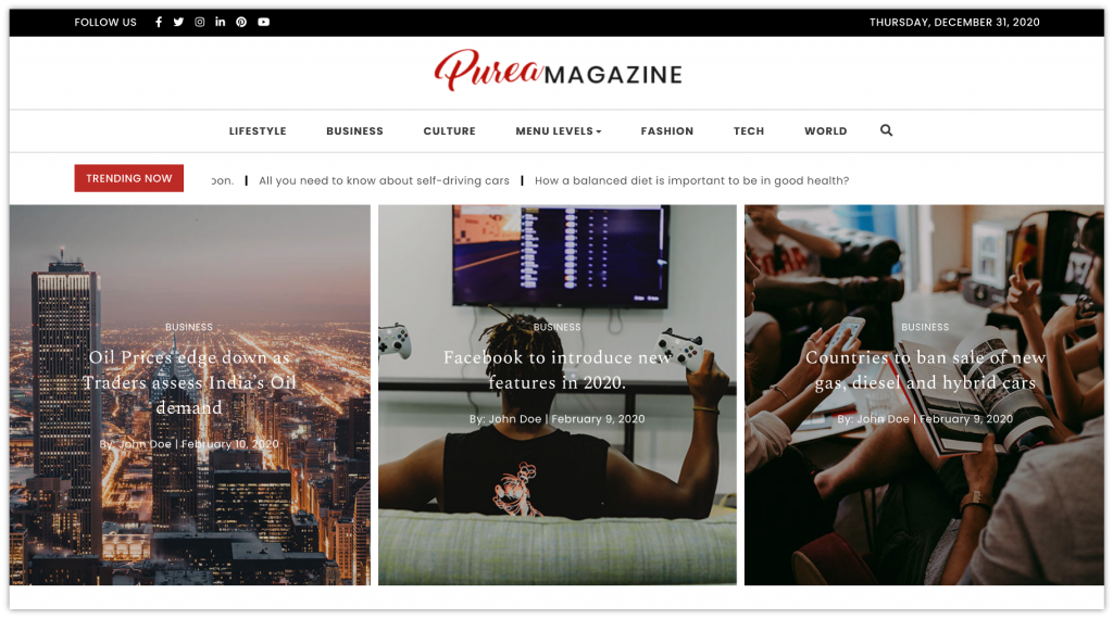 Purea magazine WordPress theme