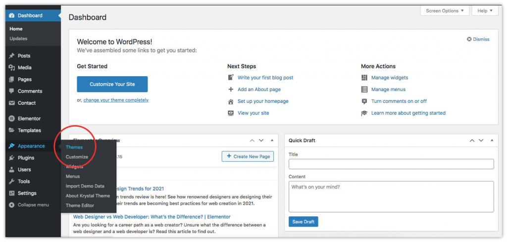 Accessing themes from the WordPress dashboard