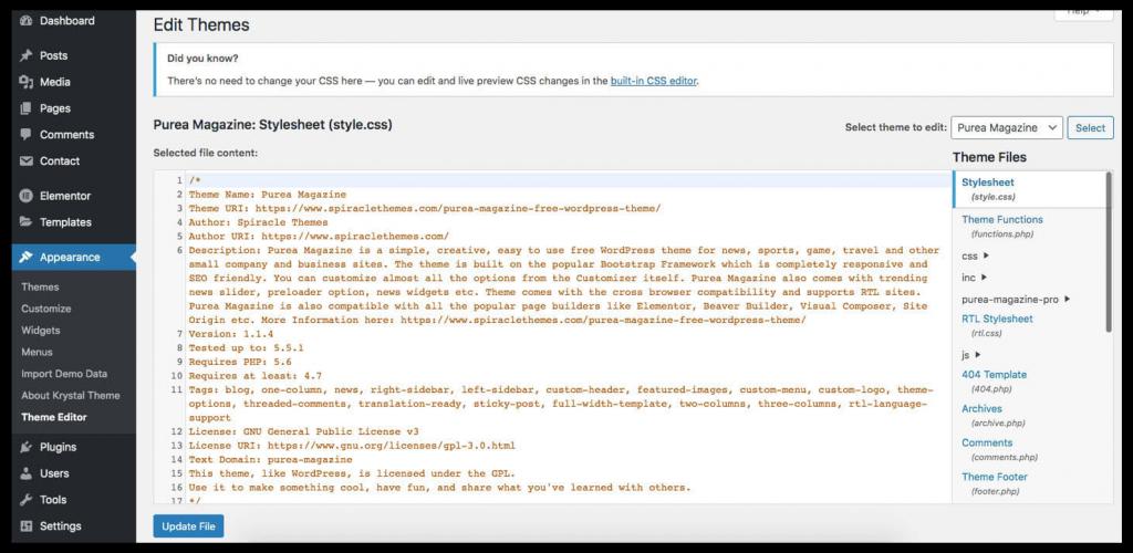 edit stylesheet file on WordPress