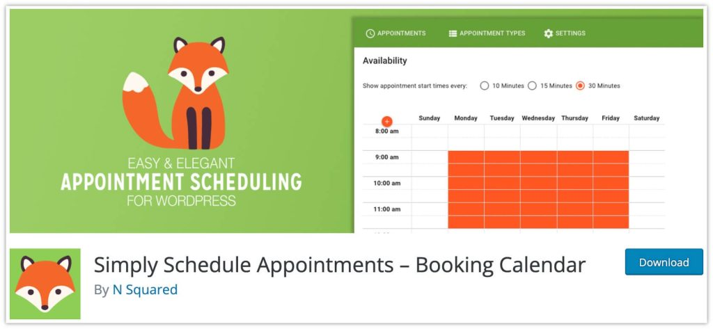 Simply Schedule Appointments plugin –Booking Calendar